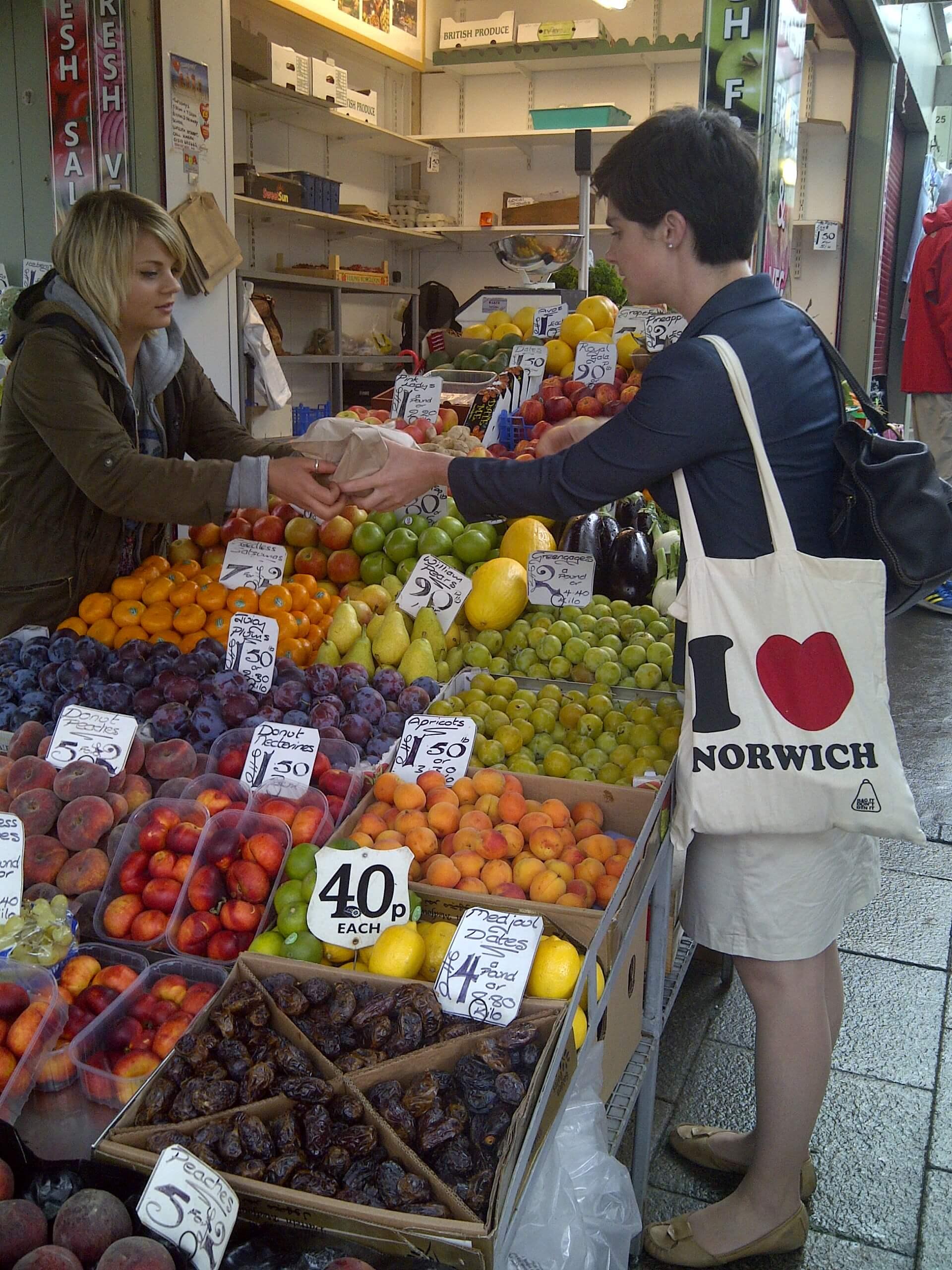 Chloe Smith MP Buy Local Challenge Norwich Market