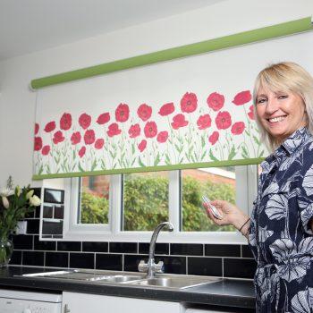 Poppy design motorised kitchen blinds